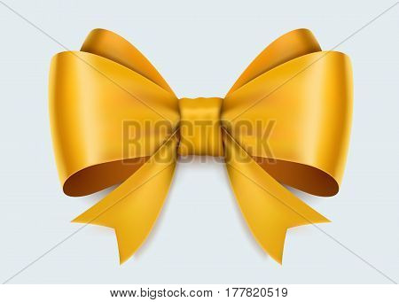 Realistic yellow bow isolated on white background. Vector illusatraion