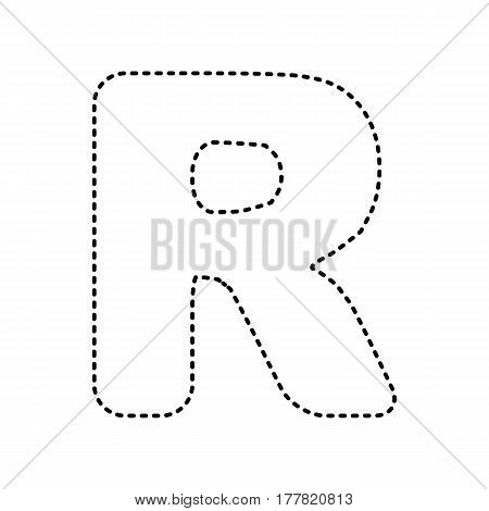 Letter R sign design template element. Vector. Black dashed icon on white background. Isolated.