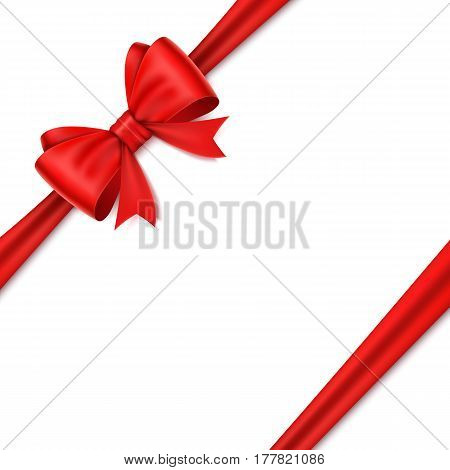 Realistic red bow on white background. Vector illusatraion