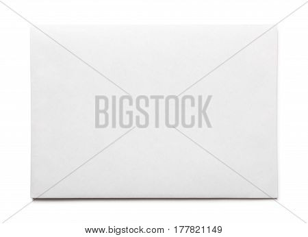 Simple blank white envelope isolated, front view