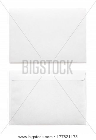 Simple blank white envelope isolated, front and rear views