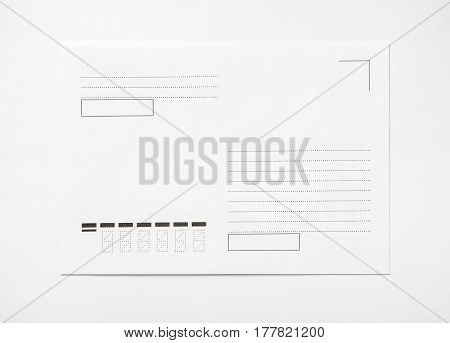 Blank envelope on white background, with place for text, front view