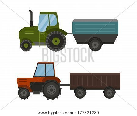 Agriculture industrial farm equipment machinery tractor combine and excavator rural machinery corn car harvesting wheel vector illustration. Autumn farmland heavy industry transportation.