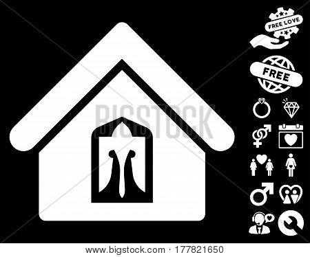 Home pictograph with bonus amour symbols. Vector illustration style is flat iconic white symbols on black background.