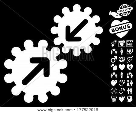 Integration Gears icon with bonus romantic pictograms. Vector illustration style is flat iconic white symbols on black background.