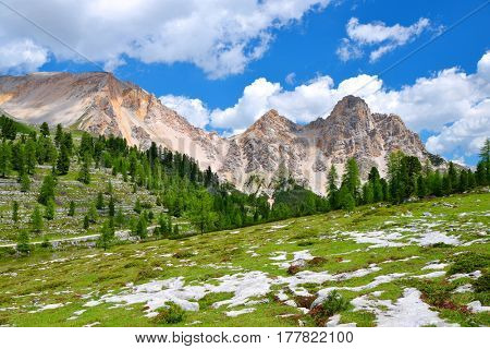 Mountain landscape in Fanes Nature Park - Italian Alps