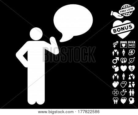 Man Idea Balloon icon with bonus marriage pictograms. Vector illustration style is flat iconic white symbols on black background.