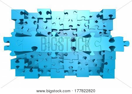 Blue Jigsaw Puzzle With 3D Effect
