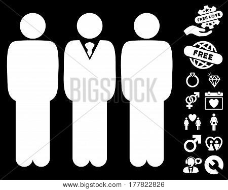 Managers icon with bonus decoration clip art. Vector illustration style is flat iconic white symbols on black background.