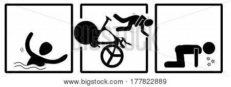 triathlon icon in vector, swim, bike, run