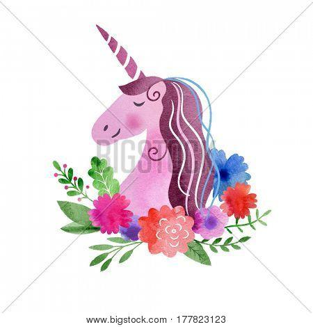 Watercolor Unicorn Portrait