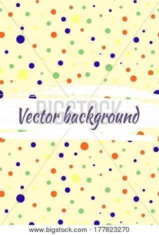Vector Background With Dots, Brush Strokes. Creative Artistic Template For Card, Layout, Cover. Text