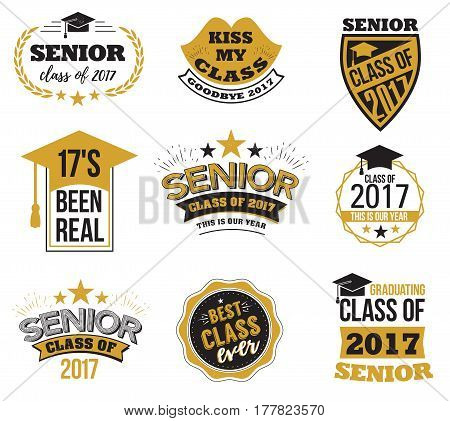 Collection of logo badges and cute funny labels for graduating senior class 2017, in black and gold isolated against white background, design for the graduation party for university or college students