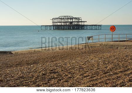 The ruined West Pier on the seafront at Brighton in East Sussex England