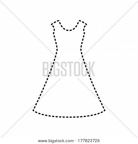 beautiful long dress sign Vector. Black dashed icon on white background. Isolated.