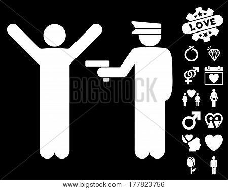 Police Arrest pictograph with bonus lovely design elements. Vector illustration style is flat iconic white symbols on black background.