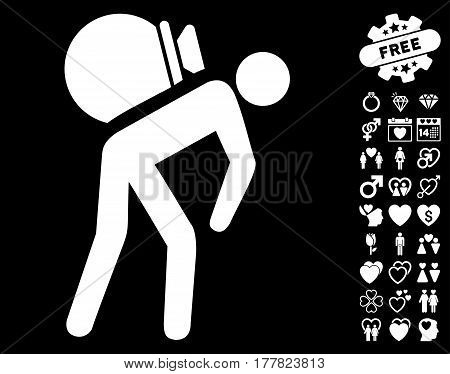 Porter icon with bonus decoration pictograph collection. Vector illustration style is flat iconic white symbols on black background.