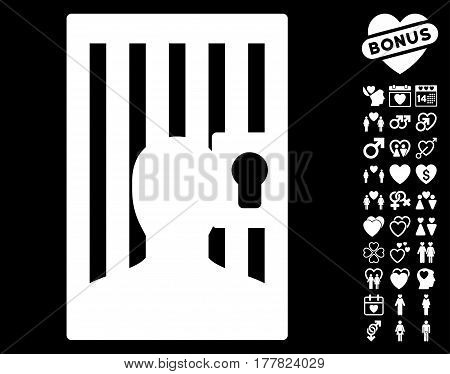 Prison Door pictograph with bonus valentine images. Vector illustration style is flat iconic white symbols on black background.