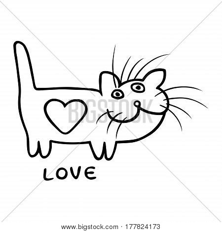 Black and white love heart cat on Valentine's day. Funny cartoon cool character. Contour freehand digital drawing cute character. White color background. Cheerful pet for web icons and shirt. Isolated vector illustration.