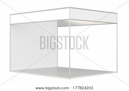White exhibition stand design. Template corporate identity. 3d endering