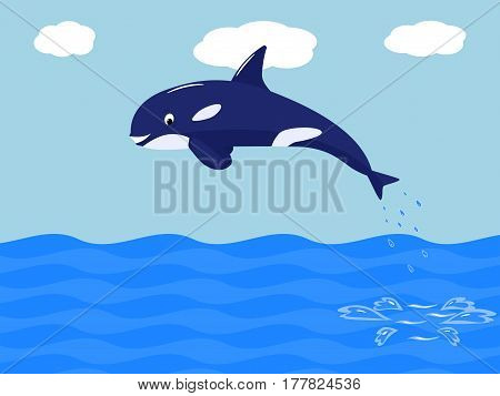 Vector illustration of funny cartoon whale jumps out of the sea. Killer whale in the ocean. Grampus spring out of the water.