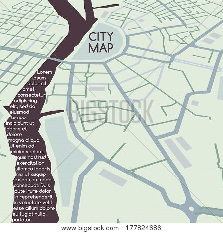 Abstract vector city map, flat style in perspective and sample text