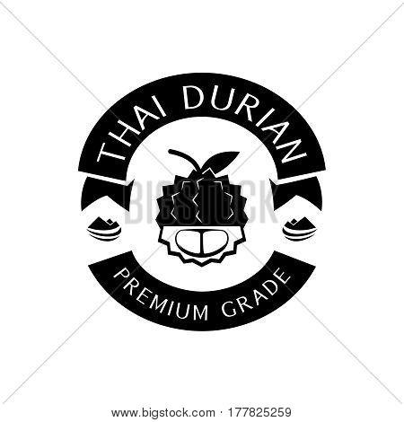 thai durian premium grade guarantee logo with mountain in black color