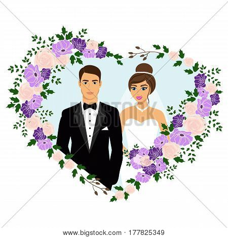 Bride and groom. Wedding card with the newlyweds in the heart of flowers. Wedding invitation. Vector illustration.