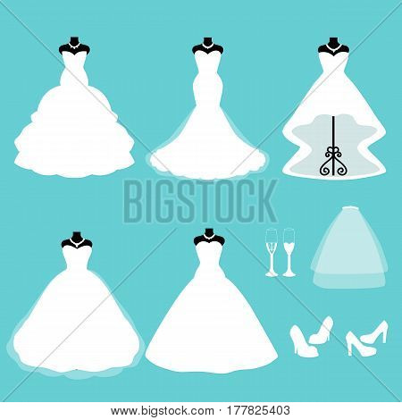 A set of wedding dresses. Clothes for the bride. Icons of wedding dresses. Vector illustration.