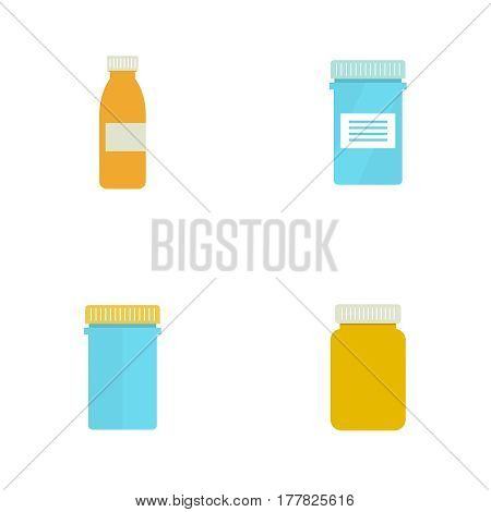 Set Pill bottle isolated icon on white background. Pill bottle for capsules. Medical container. vector illustration.