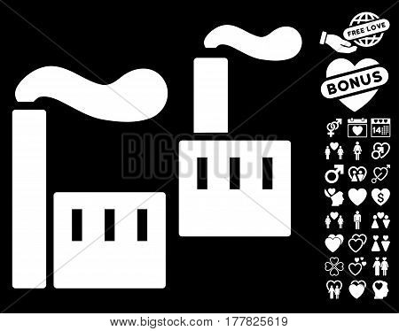 Smoking Industry icon with bonus romantic pictures. Vector illustration style is flat iconic white symbols on black background.