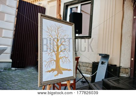 Tree For Fingerprints Of Guests At Frame On Wedding Ceremony.