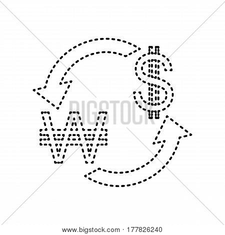 Currency exchange sign. South Korea Won and US Dollar. Vector. Black dashed icon on white background. Isolated.