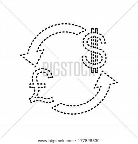 Currency exchange sign. UK: Pound and US Dollar. Vector. Black dashed icon on white background. Isolated.