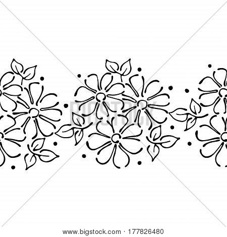 Seamless Vector Hand Drawn Floral Pattern, Endless Border Frame With Flowers, Leaves. Decorative Cut