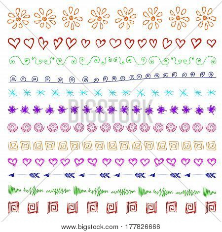 Set of multicolor hand drawn vintage design elements isolated on white