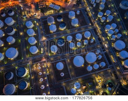 Oil refinery and oil tank storage and chemical plant from air bird eye view Factory industrial and Energy concept