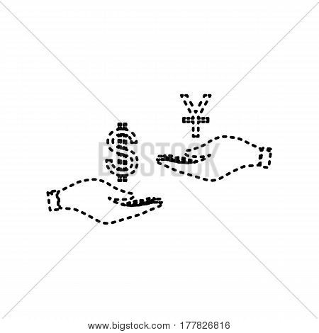 Currency exchange from hand to hand. Dollar and Yuan. Vector. Black dashed icon on white background. Isolated.