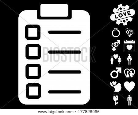 Test Task pictograph with bonus love symbols. Vector illustration style is flat iconic white symbols on black background.