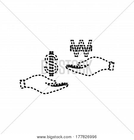Currency exchange from hand to hand. Dollar and South Korea Won. Vector. Black dashed icon on white background. Isolated.