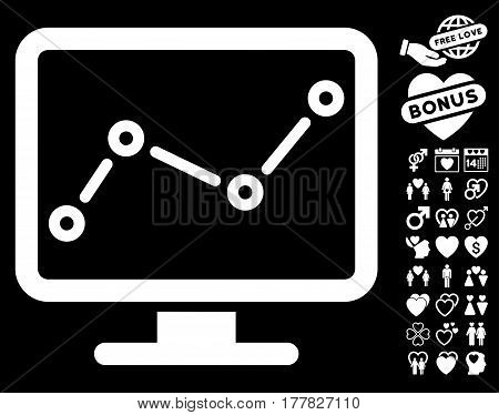Trend Monitoring pictograph with bonus amour symbols. Vector illustration style is flat iconic white symbols on black background.