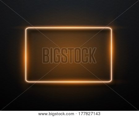 Illustration of Vector Neon Frame. Realistic Neon Quote Sign. Glowing Vintage Neon Frame Template
