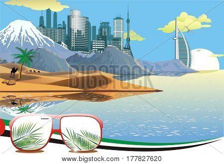 Landscape - Arab coast. Sand dunes. Camel caravan in the desert. The mountain ridge. The metropolis on the ocean. Vector illustration