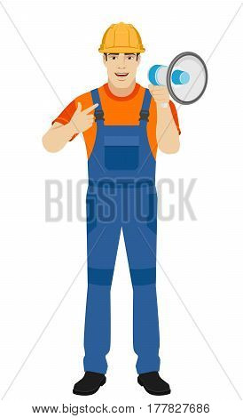 Builder pointing on the loudspeaker. Full length portrait of builder in a flat style. Vector illustration.