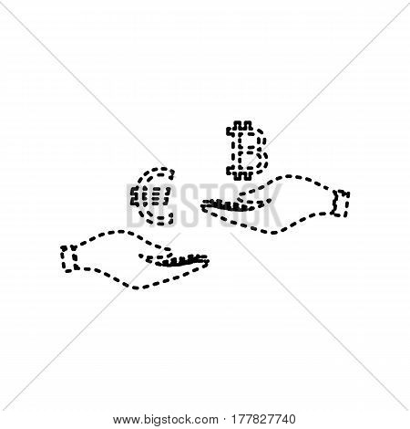 Currency exchange from hand to hand. Euro an Bitcoin. Vector. Black dashed icon on white background. Isolated.