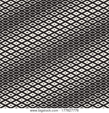 Repeating Geometric Rectangle Tiles. Stylish Monochrome Lattice. Vector Seamless Pattern.