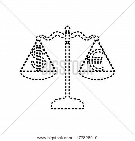 Justice scales with currency exchange sign. Vector. Black dashed icon on white background. Isolated.