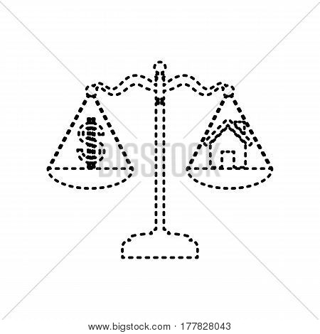 House and dollar symbol on scales. Vector. Black dashed icon on white background. Isolated.