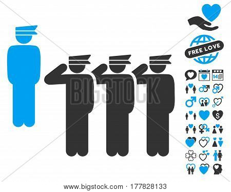 Army icon with bonus decoration pictures. Vector illustration style is flat iconic blue and gray symbols on white background.