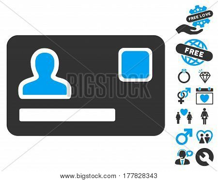 Banking Card icon with bonus lovely pictures. Vector illustration style is flat iconic blue and gray symbols on white background.